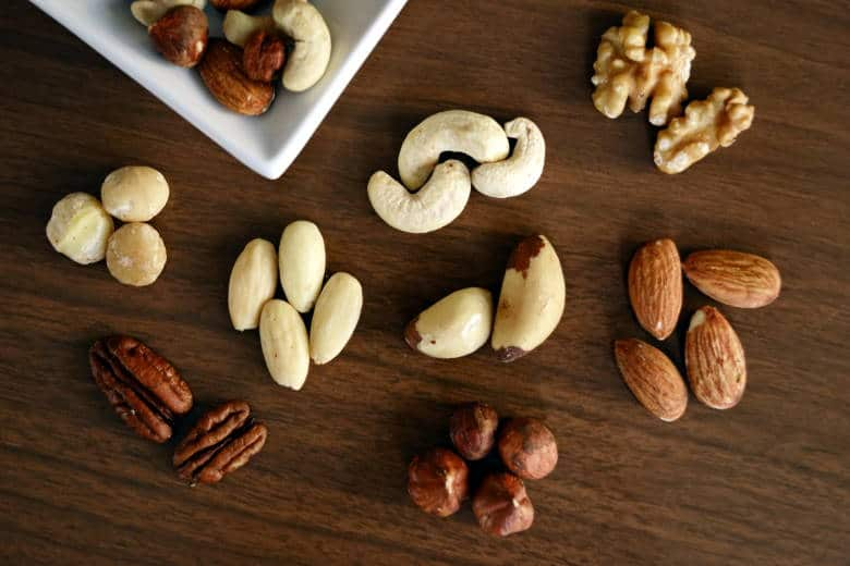 almonds brazil nuts walnuts