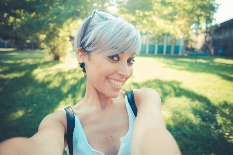 woman with short hair selfie
