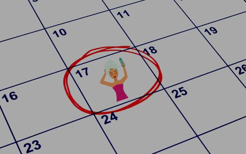 wash hair calendar
