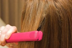 hot pink flat iron on hair